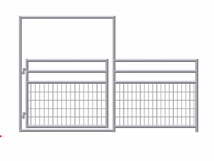 A drawing of bottom welded horse panel gate on the white background.