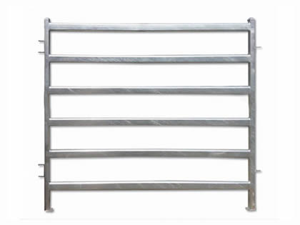 A hot-dipped galvanized cattle corral fence on the white background.
